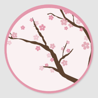20 - 1 5 Envelope Seal WT Cherry Blossom Round Stickers