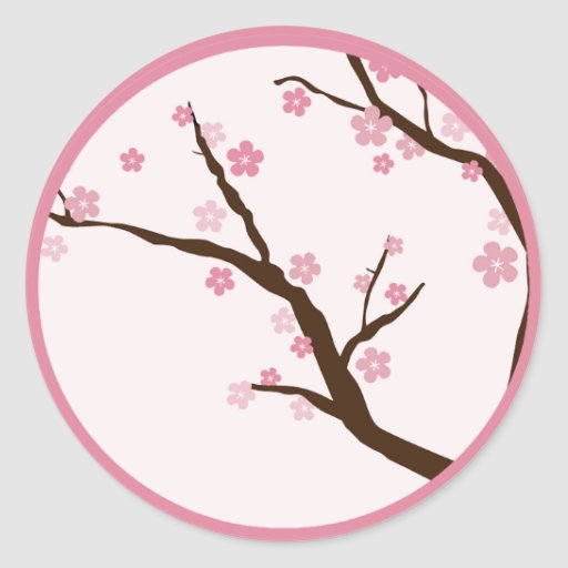 "20 - 1.5""  Envelope Seal WT Cherry Blossom Round Stickers"