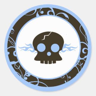 """20 - 1.5"""" Envelope Seals Boy Blue Punk Skull Flame Round Sticker"""