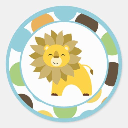 "20 - 1.5""  Envelope Seals Jungle King Lion Safari Round Sticker"
