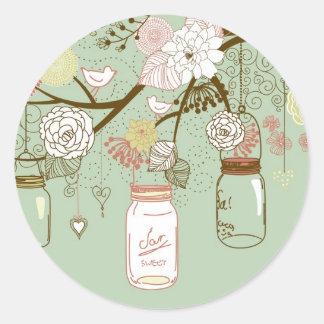 "20 - 1.5"" Envelope Spring Floral Mason Jars green Round Sticker"
