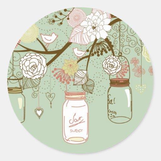 "20 - 1.5"" Envelope Spring Floral Mason Jars green Sticker"
