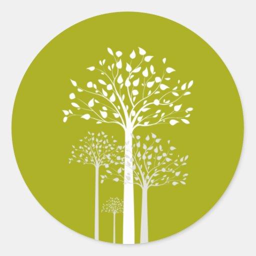 "20 - 1.5"" Envelope Sticker Modern Green/White Tree"
