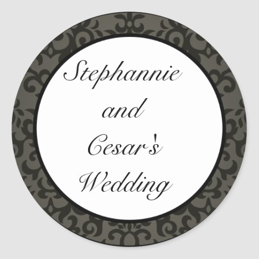 """20 - 1.5"""" Favor Stickers Black and Gray Damask"""