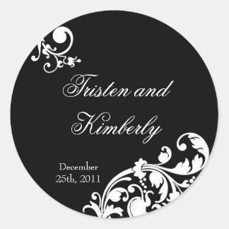 """20 - 1.5""""  Favor Stickers Black White Floral Filig"""