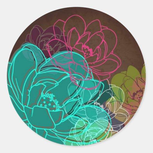 "20 - 1.5""  Favor Stickers Neon Spring Floral Flowe"