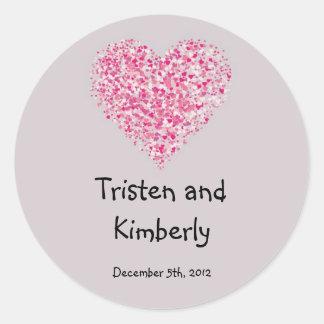 """20 - 1.5""""  Favor Stickers Pink Floral Petals Flowe Round Sticker"""