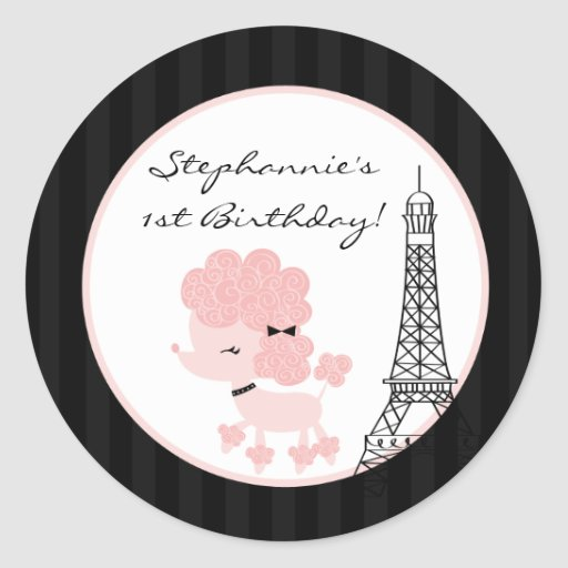 "20 - 1.5""  Favor Stickers Pink Poodle in Paris"