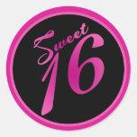 """20 - 1.5""""  Favour Stickers Sweet 16 Pink Black Par"""