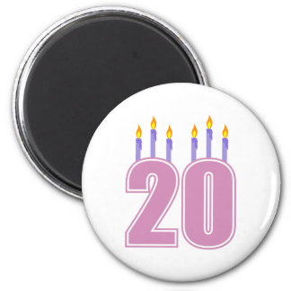 20 Birthday Candles (Purple / Pink) Fridge Magnet