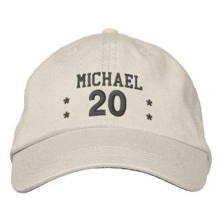 20 Birthday Custom Name STONE CHARCOAL V58 Embroidered Hat