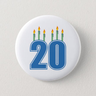 20 Candles (Blue / Green) 6 Cm Round Badge