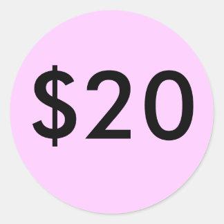 $20 CLASSIC ROUND STICKER