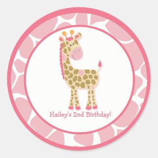 20 Customisable Cupcake Toppers Jungle Giraffe Round Sticker