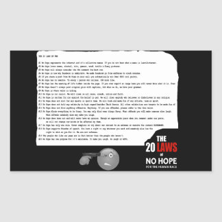 20 Laws of No Hope for the Human Race Rectangular Sticker