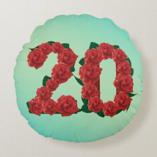 20 number birthday anniversary 20th red rose text round cushion