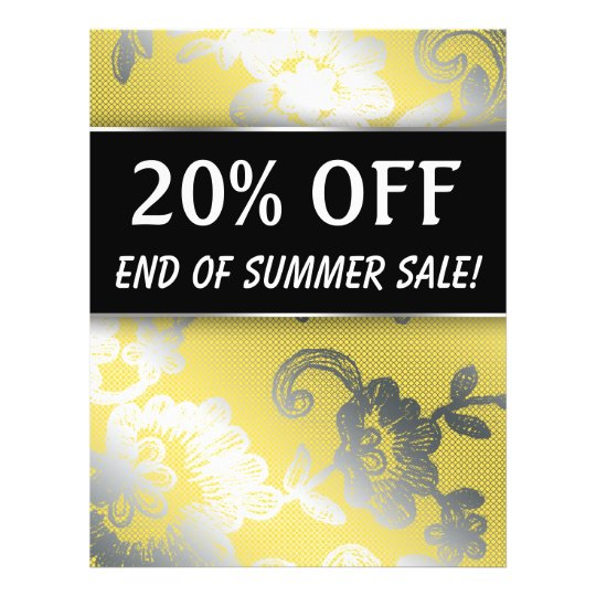 20 OFF Sale Flyer Silver Yellow Lace