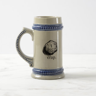 20 sided die crap luck beer stein