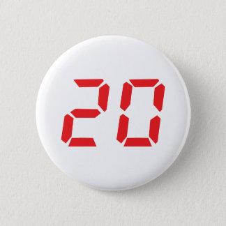 20 twenty red alarm clock digital number 6 cm round badge