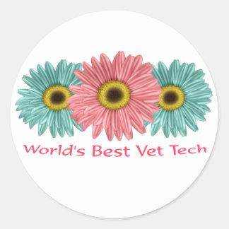 20 world's best vet tech classic round sticker