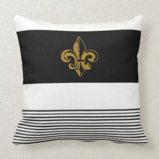 20 X 20 BLACK & WHITE FLEUR DE LIS PILLOW