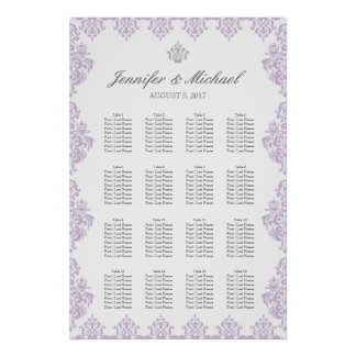 "20"" x 30"" Damask Wedding Seating Chart (16 Tables)"