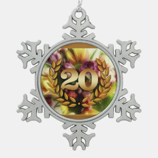 20 year anniversary floral illustration pewter snowflake decoration