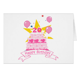 20 Year Old Birthday Cake Card