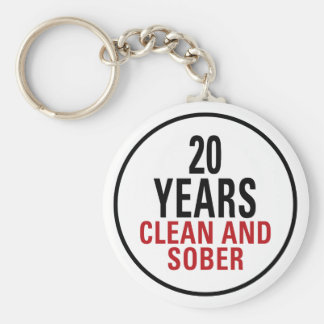 20 Years Clean and Sober Basic Round Button Key Ring