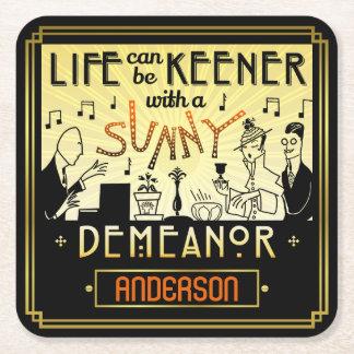 20s Retro Art Deco Sunny Demeanor Custom Name Square Paper Coaster