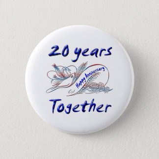 20th. Anniversary 6 Cm Round Badge