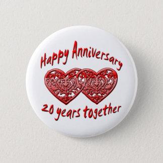20th. Anniversary 6 Cm Round Badge