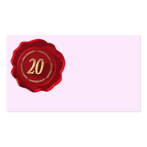 20th anniversary red wax seal business card template