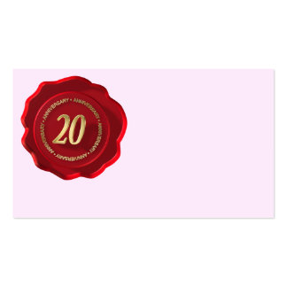 20th anniversary red wax seal pack of standard business cards