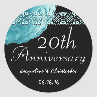 20th Anniversary TURQUOISE Rose Sticker