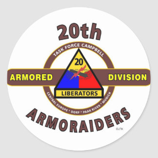 "20TH ARMORED DIVISION ""ARMORAIDERS"" CLASSIC ROUND STICKER"