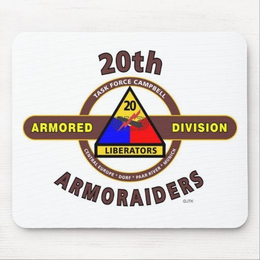 """20TH ARMORED DIVISION """"ARMORAIDERS"""" MOUSE PAD"""
