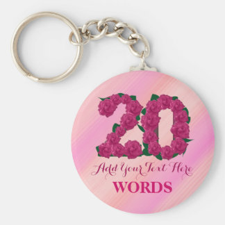 20th birthday 20 pink rose floral template key ring