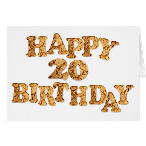 20th Birthday card for a cookie lover