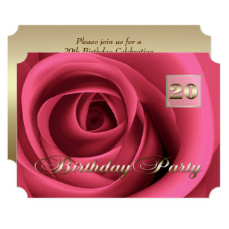 20th Birthday Celebration Custom Invitations