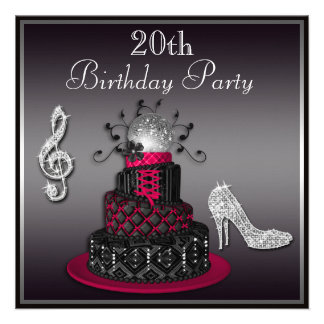 20th Birthday Disco Diva Cake and Heels Hot Pink Personalized Invitations