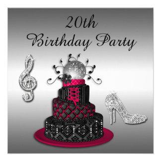 20th Birthday Disco Diva Cake and Sparkle Heels Custom Announcements