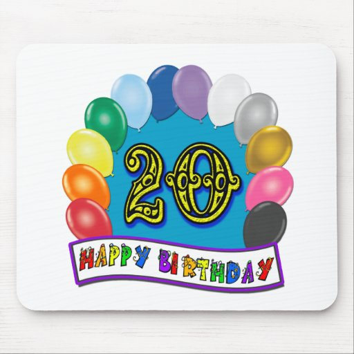 20th Birthday Gifts with Assorted Balloons Design Mouse Pad