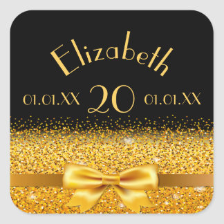 20th birthday gold bow with ribbon on black date square sticker