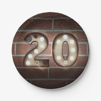 20th birthday marquee sign on brick wall paper plate