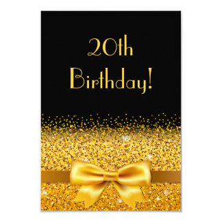 20th birthday party on black with gold bow sparkle card