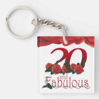 20th Birthday photo frame red rose keychain