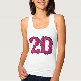20th birthday wedding anniversary floral T-shirt