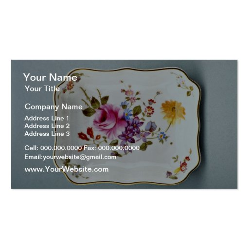 20th century ashtray, Derby, England  flowers Business Card Templates