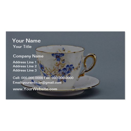 20th century coffee cup and saucer, Germany  flowe Business Card Template